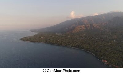 coastline during sunset - aerial view sea and coastline...