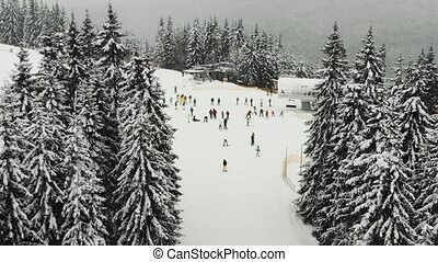 aerial view ski resort with people
