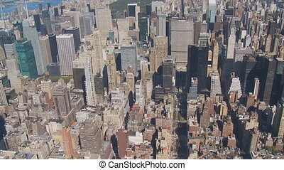 aerial view skyscrapers