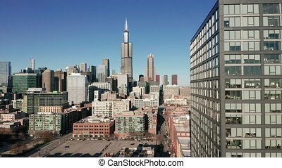 Aerial View Sliding Left Passing Building Downtown Chicago...
