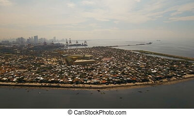 Aerial view slums of Manila, the poor district. Philippines, Manila