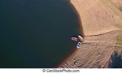 Aerial View Small Boats Moored on Shore, Portugal