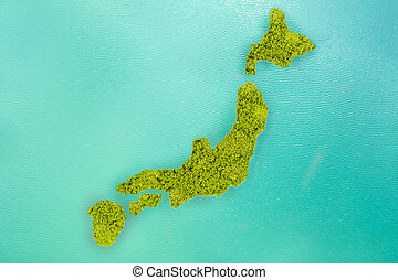 Aerial view small green island that shape looks like Japan