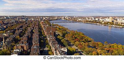 Aerial View South Facing Boston Bridge Charles River Cambridge Massachusetts