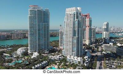 Aerial view South Pointe Beach, Miami, Florida, 4k