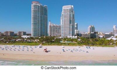 Aerial view South Pointe Beach, Miami, Florida