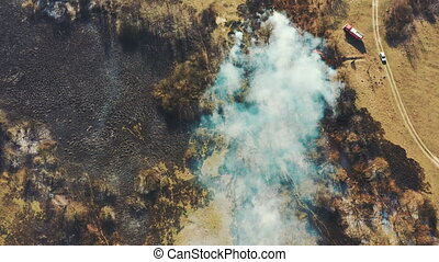 Aerial View. Spring Dry Grass Burns During Drought Hot ...