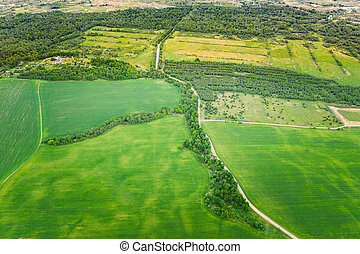 Aerial View Spring Empty Field With Windbreaks Landscape. Top View Of Field And Forest Belt. Bird's Eye View. A Windbreak Or Shelterbelt Is A Planting Usually To Protect Soil From Erosion.