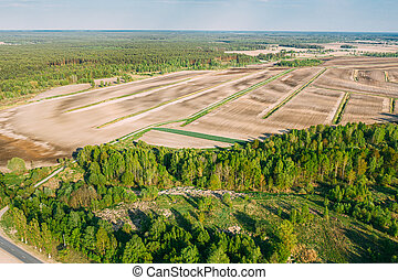 Aerial View Spring Empty Field With Windbreaks Landscape. Top View Of Field And Forest Belt. Drone View Bird's Eye View. A Windbreak Or Shelterbelt Is A Planting Usually To Protect Soil From Erosion