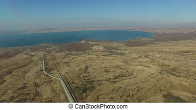 Stavropol landscape with hills and lake. Russia. - Aerial...