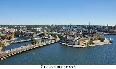 Aerial view. Stockholm. Old houses, buildings and streets