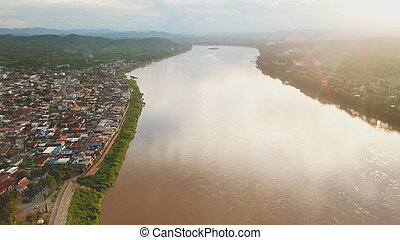 Aerial view sunset at Mekong river