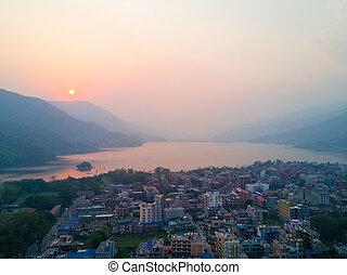 Aerial View Sunset Lakeside Phewa Lake Pokhara