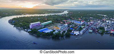 aerial view sunset sky of amphawa district in samut songkram...
