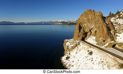 Aerial View Tall Butte Highway Tunnel Lake Tahoe - We fly by...