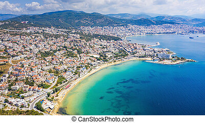Aerial view the city of Kavala in northern Greek.