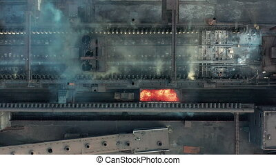 Aerial view. The issuance of hot coke. Metallurgical plant....