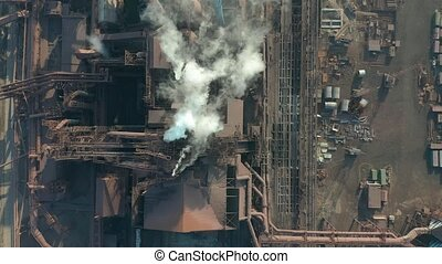 Aerial view. The metallurgical plant. Plant for metal...