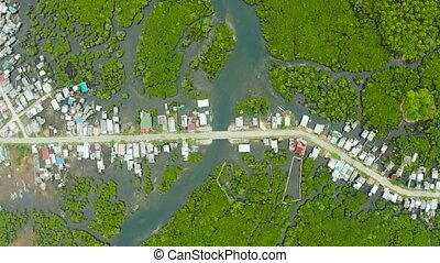 Aerial view The town is in mangroves. Siargao,Philippines. -...