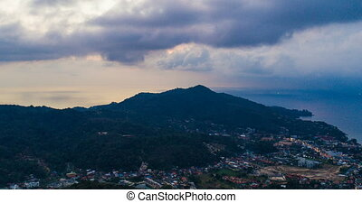 Aerial view time lapse of Kamala in Phuket