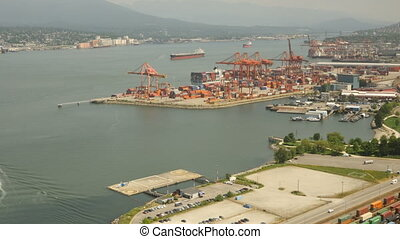 Aerial View Timelapse Vancouver harbor