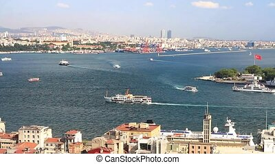 Aerial view to Bosphorus, Istanbul. Looking over Karakoy...