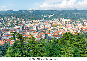 Aerial view to city of Trieste in Italy. Panorama of houses...