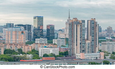 Aerial view to cityscape skyline with World Trade Center towers and hotel Ukraine timelapse in Moscow, Russia.