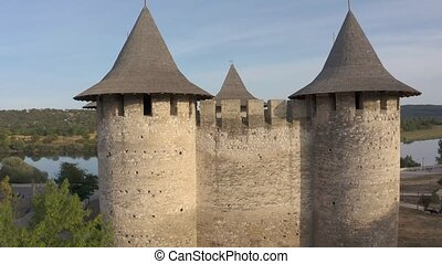Aerial view to medieval fort in Soroca, Republic of Moldova...