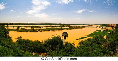Aerial view to Niger river in Niamey Niger