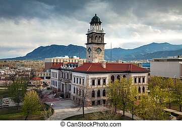 Pioneers museum in Colorado Springs, Colorado - Aerial view ...