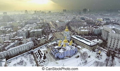 Aerial view to Saint Michael Golden Domed Cathedral in the...