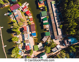 Aerial view to the boat station in lagoon Moored boats and yachts
