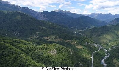aerial view to the canyon of the Moraca river