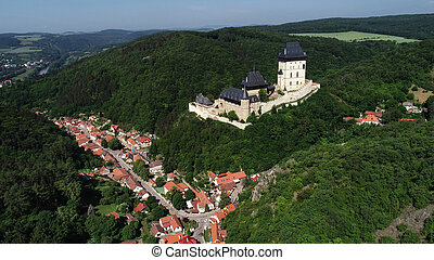 Aerial view to The Karlstejn castle. -...