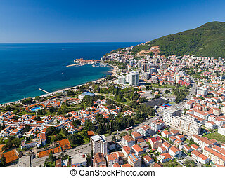 aerial view to the Old Town of Budva