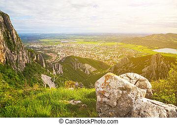 Aerial view to the town of Vratsa, Bulgaria