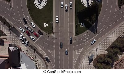 Aerial view, top down view of traffic jam on a city road -...