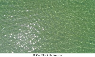 drone flying beautiful sea water surface