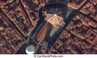Aerial view. top view of the cathedral Florence, tuscany, Italy. Flying over the Florence roofs.