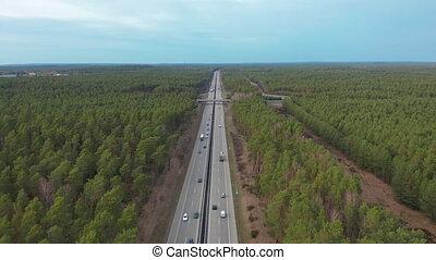 Aerial View. Traffic on a Motorway, Germany. - Aerial View....
