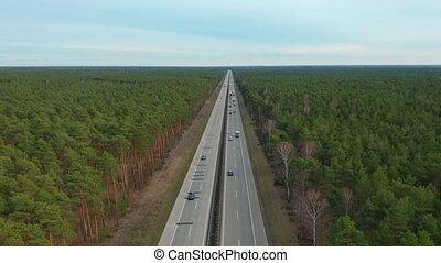 Aerial View. Traffic on a Motorway, Germany, Hyperlapse -...
