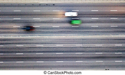 Aerial view traffic on the road blurred background. Photo from the drone