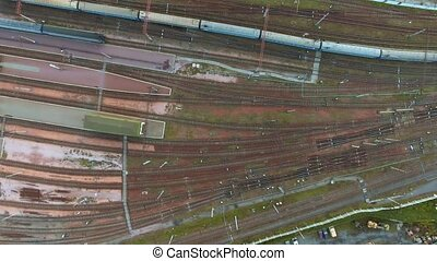 Aerial view. Trains moving out from platform of railway station Kiev, Ukraine