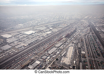 Aerial view: Transportation system of Los Angeles.