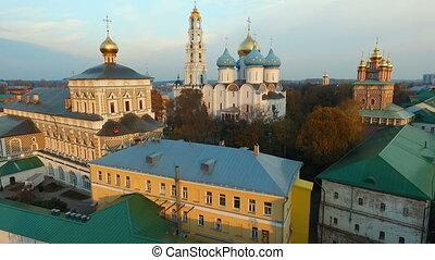 Aerial view Trinity-St. Sergius Lavra in Sergiev Posad HD