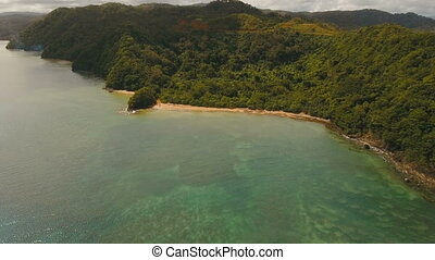 Aerial view tropical lagoon,sea, beach. Tropical island....