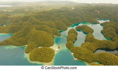 Aerial view tropical lagoon,sea, beach.Bucas Grande Island,...