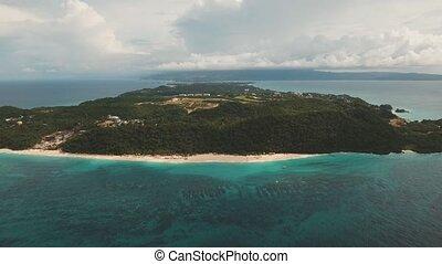 aerial view tropical tropical island - aerial footage...