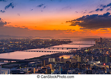 Aerial view Umeda city with after sunset skyline